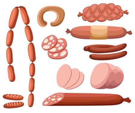 Vlees en worstjes Set van vers en bereid vlees. Rundvlees, varkensvlees, gezouten spek en bologna en salami worsten. Moderne vlakke stijl realistische vector illustratie pictogrammen geïsoleerd op een witte achtergrond Stock Illustratie