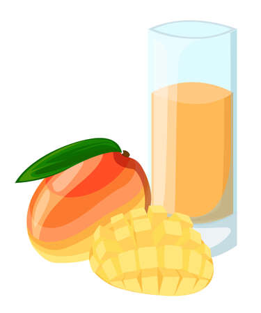 Design Template banner, poster, icons mango smoothies. Illustration of mango juice Drink me. Freshly squeezed tropical mango juice for healthy life. A glass of juice in doodle cute style. Vector Illustration
