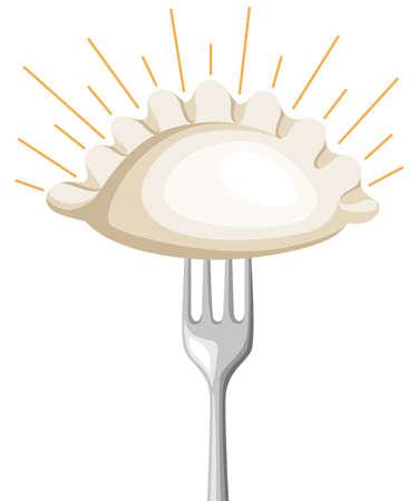 Vareniki. Pelmeni. Vleesknoedels. Eten. Dille, peterselie, zwarte peper, laurier. Cooking. Nationale gerechten. Avondeten. Producten uit het deeg en vlees Vector vintage illustratie Website pagina ontwerp