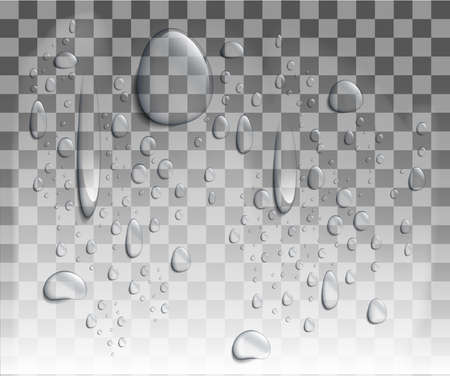 Realistic vector water drops. Set of transparent drops of different shapes in gray colors. Transparency only in vector format Clean drop condensation illustration Web site page and mobile app design.