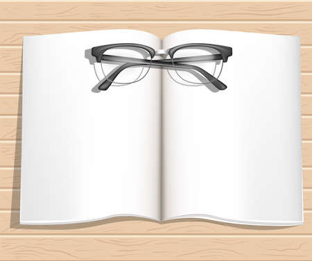bussines: Office desktop with notebooks glasses top view. Wood background. Web site page and mobile app design.