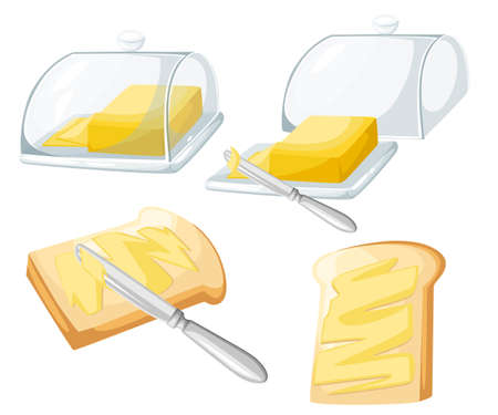 knife spreading butter or margarine on slice of toast bread and bar of butter, flat design vector Web site page and mobile app design.