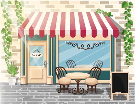 ストリート カフェ フラット デザイン コンセプト