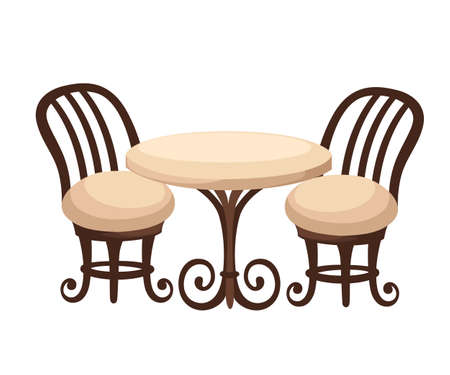 #82183099   Round Dinner Table For Two With White Cloth And Red Wooden  Chairs. Flat Style Illustration. Web Site Page And Mobile App Design
