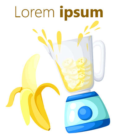 liquefy: Blender and glass of smoothie made of banana Juice made of banana vector illustration Web site page and mobile app design vector element