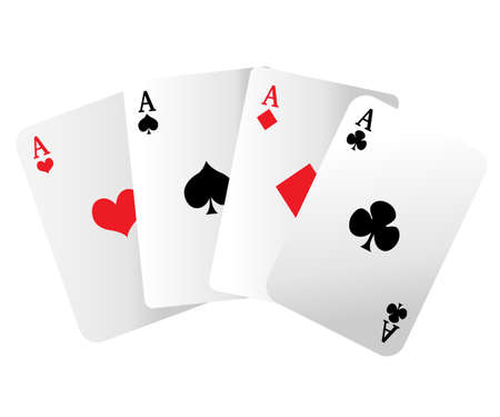 Web site page and mobile app design vector element. A winning poker hand of four aces playing cards suits on white
