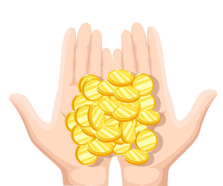 alms: Coins in the palms of men. Coins in hand, money in hand. Vector illustration flat design. Concept of charity, alms, donate. Receive, giving, to take, ask for money. Financial support Illustration