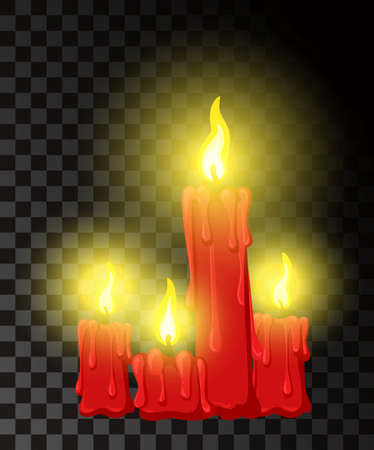 Vector candle with fire animation on transparent background. Flame animated effect illustration Web site page and mobile app design vector element