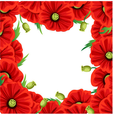 Red Poppy Flower isolated on white background. Vector red romantic poppy flowers and grass. Flourish flowery bunches design for decor Web site page and mobile app design