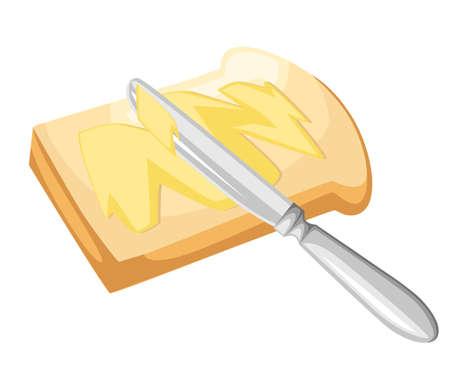 Mes die boter of margarine op een stuk toastbrood verspreidt. Stock Illustratie