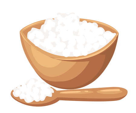 Cottage Cheese Illustration In Flat Design