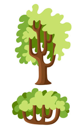 Flat green trees vector illustration set. Stone pine, spruce, maple, birch, cedar, oak, brachychiton, banyan, willow, larch palm scots pine forest tree icons Nature concept Stock Photo