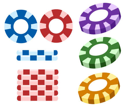 illustration of set of casino icons on isolated white background Web site page and mobile app design vector illustration
