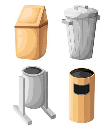 Garbage trash bin icon isolated. Vector illustration. Flat style.waste paper basket. Waste bin.Garbage bin.Garbage basket.Trash basket.Clean up.Cleaning icon.Bin vector.Garbage sign Illustration