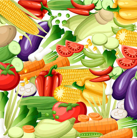 Vector fruits and vegetables seamless pattern or background. Fruits and vegetables design elements and icons for web, stores, package and advertising Web site page and mobile app design.