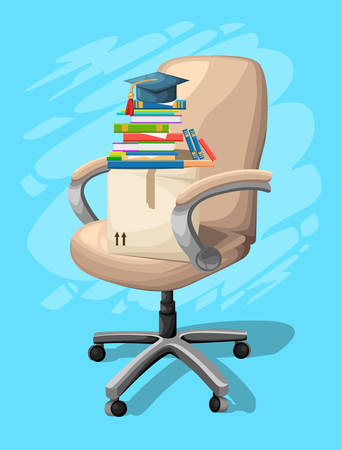 Office or desk chair in various points of view. Armchair or stool in front, back, side angles. Corporate castor furniture flat icon design for website page and mobile app design vector illustration Illustration