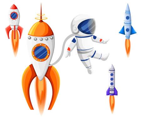 Space Rocket Start Up and Launch Symbol New Businesses Innovation Development Flat Design Icons Set Template Vector Illustration Illustration