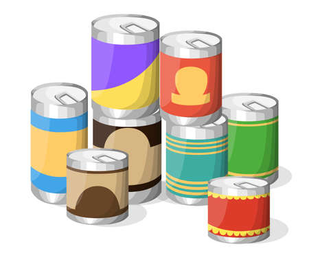 tinned: Collection of various tins canned goods food metal container grocery store and product storage aluminum flat label canned conserve illustration. Web site page and mobile app design vector element Illustration