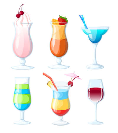 Tropical cocktails and juices set. Vector hand drawn illustration. Various isolated cocktail glass with beverages. Web site page and mobile app design vector element.