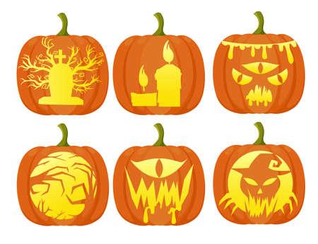 Set pumpkins for Halloween Flat Design Style Fresh cartoon different vegetable Web site page and mobile app design. Illustration