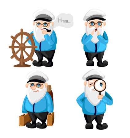 Ship captain in uniform on sea cartoon sailor characters set captain different facial expressions. Happy sad smile surprised, serious and other emotions. Simple vector illustration. Illustration