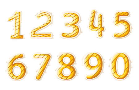 Numbers colourful set in vintage style. Vector elements illustration template for web design or greeting card Vector illustration. Web site page and mobile app.