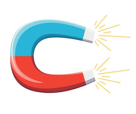 Magneet met magnetische kracht pictogram vectorillustratie, platte cartoon magneet isoleren op witte achtergrond Website-pagina en mobiele app ontwerp