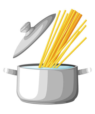 Boiling water in pan. iron cooking pot on stove with water and steam. Flat design graphics elements. Vector illustration. Web site page and mobile app design spaghetti