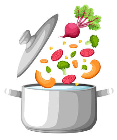 Boiling water in pan. iron cooking pot on stove with water and steam. Flat design graphics elements. Vector illustration. Web site page and mobile app design soup vegetables. Ilustração