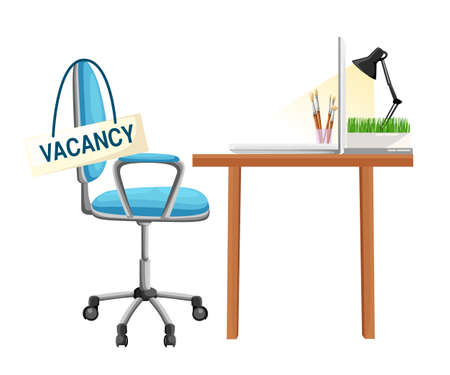 Composition with office chair and a sign vacant. Business hiring and recruiting concept. Vector illustration. Web site page and mobile app design element.