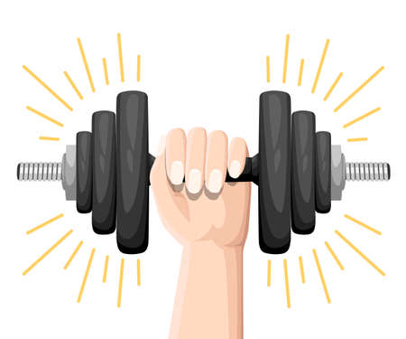 Hand holding a dumbbell Set of normal and deformed bent dumbbells isolated on white. Sport equipment, weight lifting, exercise, strength and gym concept. Flat style. vector illustration Illustration