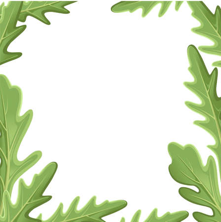 Set of green leaves and outlines