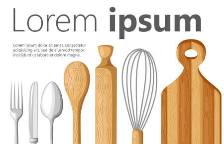 Platte ontwerp keuken concept Stock Illustratie