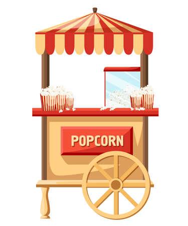 Popcorn cart flat vector illustration. Vectores