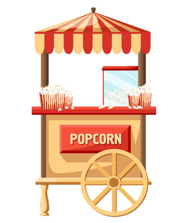 Popcorn cart flat vector illustration. Illustration