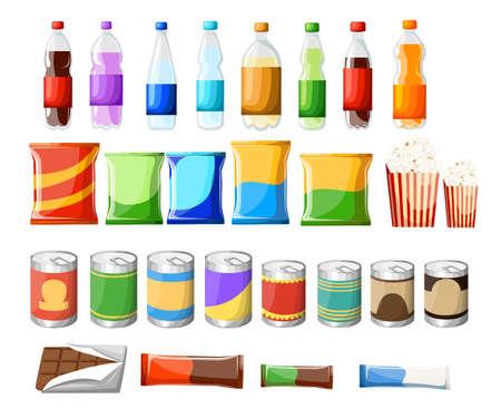 Produktartikel für Automaten. Vektor flache Abbildung. Lebensmittel- und Getränkgestaltungselemente lokalisiert auf weißem Hintergrund. Schnellimbissimbisse und flache Ikonen der Getränke. Vektordesign des Imbissatzes auf Lager gesetzt.