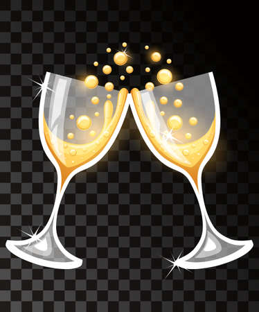 Two glasses of champagne illustration.