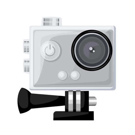 Action camera in waterproof box. Equipment for filming extreme sports. Realistic vector illustration isolated on dark background Vector illustration Web site page and mobile app design.