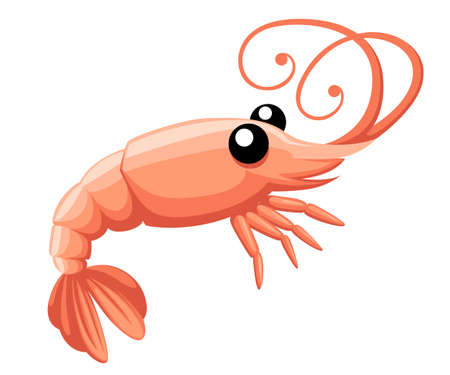 Shrimp silhouette. Isolated shrimp on white background cartoon character flat Web site page and mobile app design