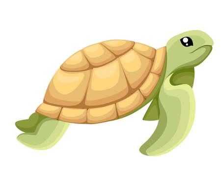 Happy cute turtle walking with smile, Vector cartoon illustration. object image vector illustration Web site page and mobile app design Illustration