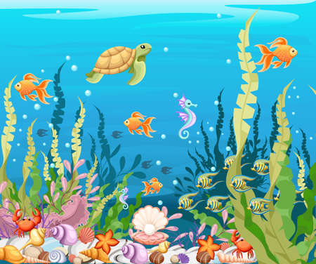 Marine Life Landscape - the ocean and underwater world with different inhabitants. For print, create videos or web graphic design, user interface, card, poster. Vettoriali