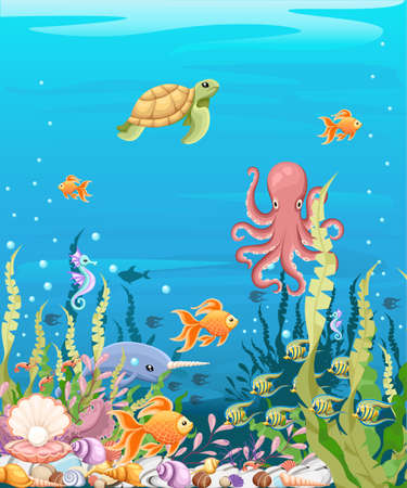 Marine Life Landscape - the ocean and underwater world with different inhabitants. For print, create videos or web graphic design, user interface, card, poster. Illusztráció