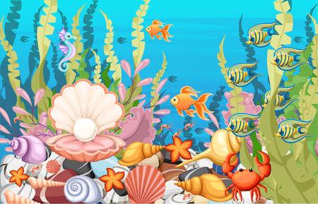 Marine Life Landscape - ocean i podwodny świat z różnymi mieszkańcami. Do drukowania, tworzenia wideo lub projektowania stron internetowych, interfejsu użytkownika, karty, plakatu. Ilustracje wektorowe
