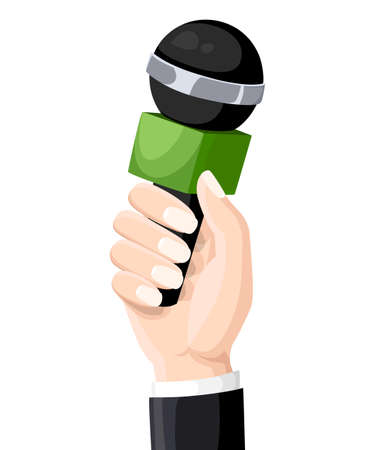 Microphon in reporter hands. Microphon isolated on white background. Television, interview. blogging Flat vector illustration. Web site and mobile app
