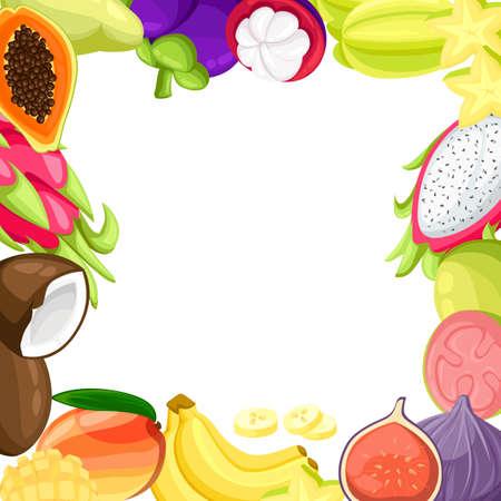 Fruits tropicaux mûrs et tranches réalistes sertie d'images isolées de mangue pitaya papaye noix de coco et illustration vectorielle de passionfruit isolée sur fond blanc .. Site Web et application mobile