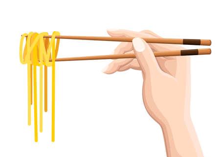 Chopsticks holding Chinese noodles. Isolated on white background. Vektorové ilustrace
