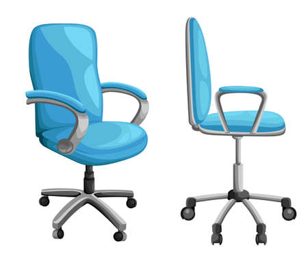 Office or desk chair in various points of view. Armchair or stool in front, back, side angles. Illustration