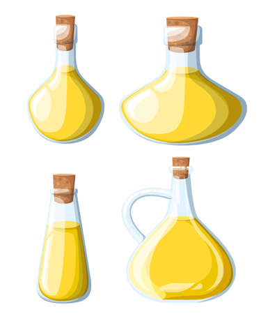 Vegetable oil assorted bottles set. Olive oil, sunflower corn soybean vector illustration.design