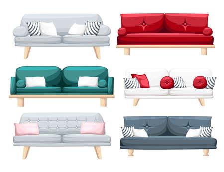 Ensemble de canapés avec des oreillers isolés sur fond blanc. Illustration vectorielle Conception de page de site Web et d'application mobile