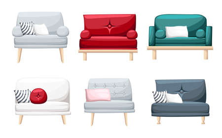 Set of sofas with pillows isolated on white background. Vector illustration. Website page and mobile app design